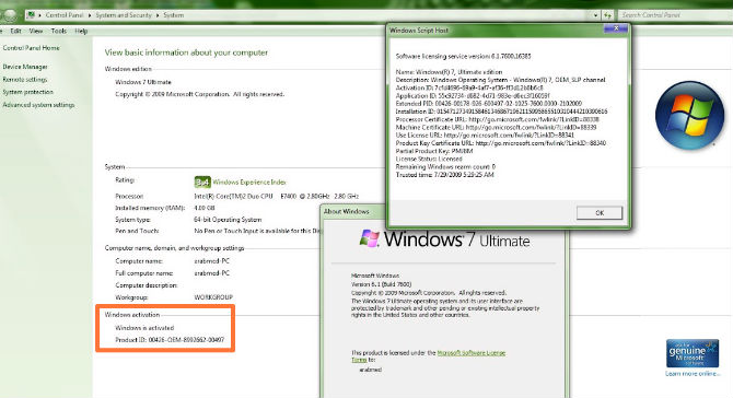 Produk key Windows 7
